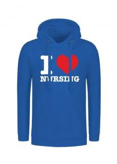 Hoodie I Love Nursing Blauw