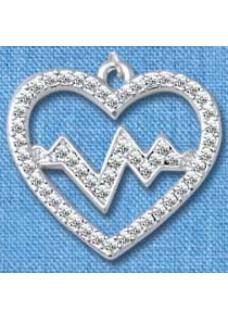 Hanger Heartbeat Zilver groot
