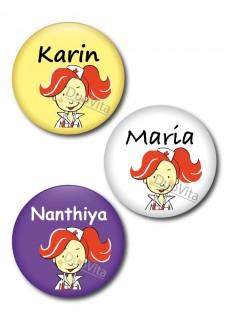 Button Verpleegster rood haar