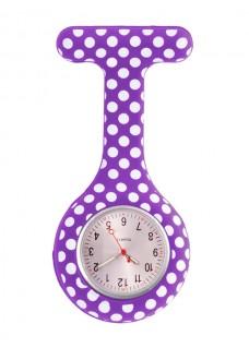 Siliconen Horloge Verpleegkundige Polka Dots Paars