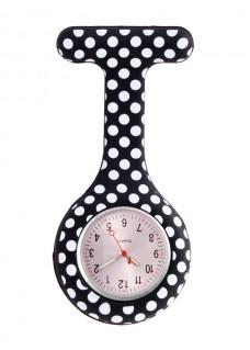 Siliconen Horloge Verpleegkundige Polka Dots Zwart