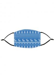 Stoffen Mondmasker Kerst Blauw