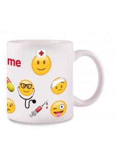 Mok Emoji Nurse met Naam Opdruk