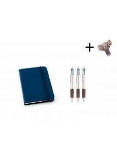 Set Notitieboek A6 + Pennen Blue
