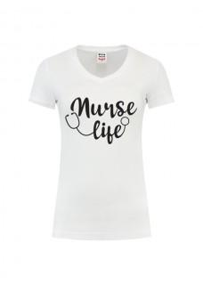 Dames T-Shirt Nurse Life Wit