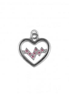 Hanger Heartbeat Zilver-Roze klein