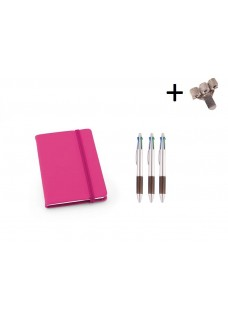 Set Notitieboek A6 + Pennen Roze