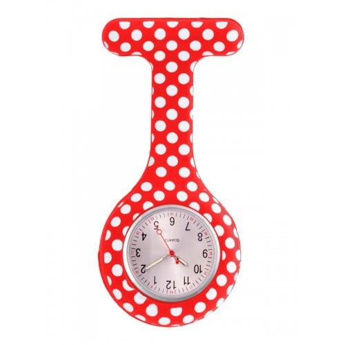 Siliconen Horloge Verpleegkundige Polka Dots Rood