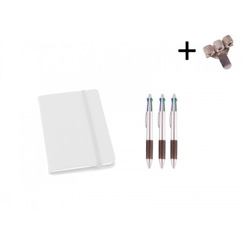 Set Notitieboek A6 + Pennen Wit
